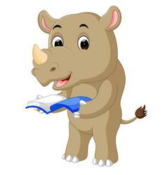 A cartoon rhino holding a book vector