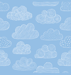 beautiful seamless pattern of doodle clouds vector image