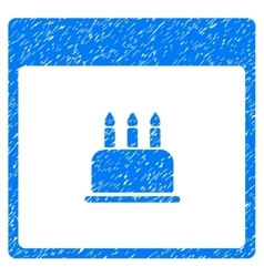 Birthday cake calendar page grainy texture icon vector