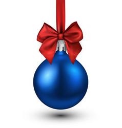 Blue 3d christmas ball on white vector