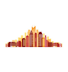 buildings and skyscrapers red background vector image vector image