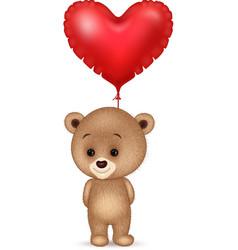 cartoon little bear holding red heart balloon vector image vector image