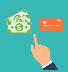 Choose between cash and credit card vector
