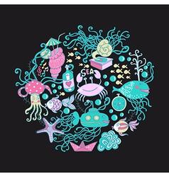 circle made of sea life elements Bright vector image