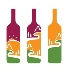 Concept of wine bottles with trees and mountains vector