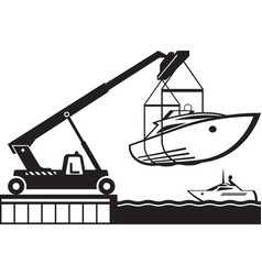 crane launching yacht in water vector image vector image