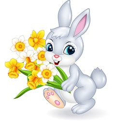 Cute bunny holding beautiful flower vector