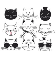 cute cat heads vector image vector image