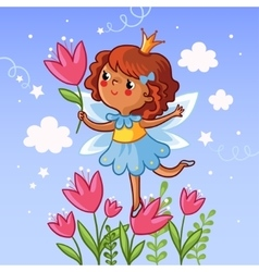 Cute little girl on a flower vector image