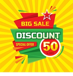 Discount 50 off dvertising banner vector