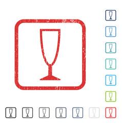 Empty wine glass icon rubber watermark vector