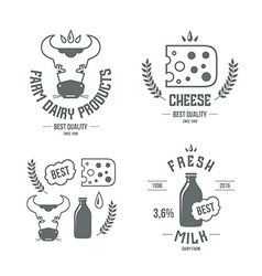 Farm dairy products emblems and icons vector image vector image