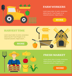 Farming banner card horizontal set vector