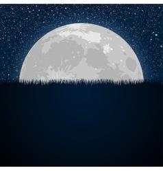 Full moon star night starry sky grass vector