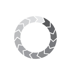 Geometric circle of separated segment arrows icon vector