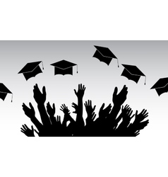 Graduates People throw square academic cap vector image