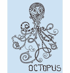 hand drawn octopus vector image vector image