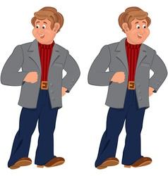 Happy cartoon man standing in gray jacket and vector image vector image
