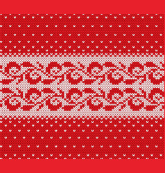 knitted christmas red and white floral seamless vector image vector image