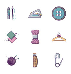 Knitting icons set flat style vector