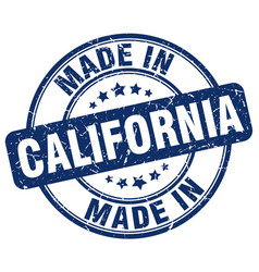 made in california blue grunge round stamp vector image vector image