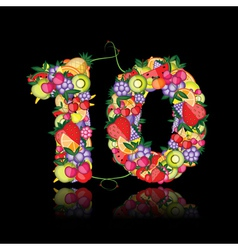 number ten made from fruits vector image vector image