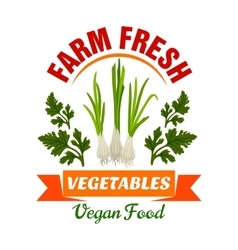Onion leek Farm fresh vegan vegetable product vector image vector image