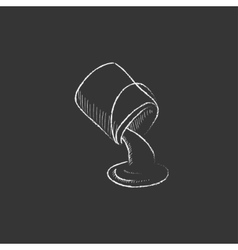 Paint pouring from bucket drawn in chalk icon vector