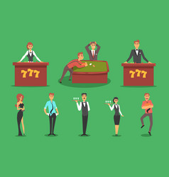 People in the casino gambling and casino night vector