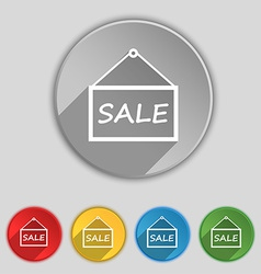 Sale tag icon sign symbol on five flat buttons vector