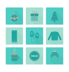 Set of holiday christmas icons in flat style vector