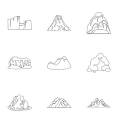 Set of icons about different mountains winter vector