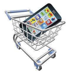 smart phone shopping cart concept vector image vector image