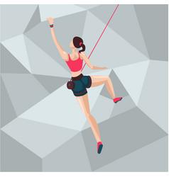 sport girl on a climbing wall cartoon character vector image