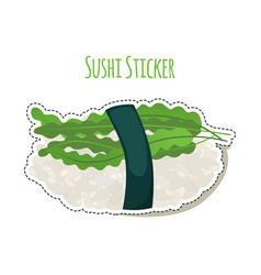 Sushi sticker asian food with rice seaweed vector