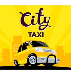 taxi car on black road in big city with h vector image