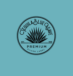 tequila logo and silver tequila label vector image