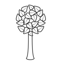 Tree leave organic food emblem line vector