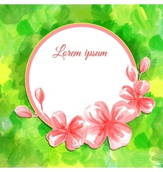 Watercolor flower rounded frame vector image vector image