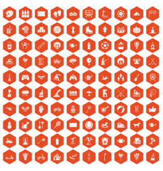 100 kids activity icons hexagon orange vector