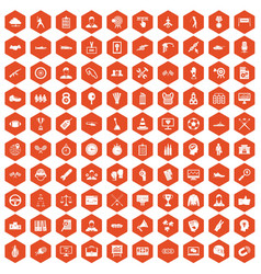 100 victory icons hexagon orange vector