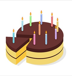 Chocolate cake birthday festive candles on pie vector