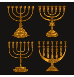 Jewish religious symbol menorah isolated on white vector