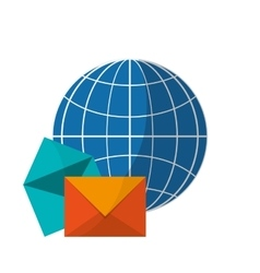 Earth globe diagram and message envelope icon vector