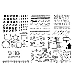 Set of different elements in doodle style vector