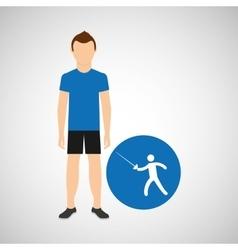 Athlete man fencing sport graphic vector
