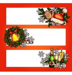 Christmas winter holidays banner with copy space vector
