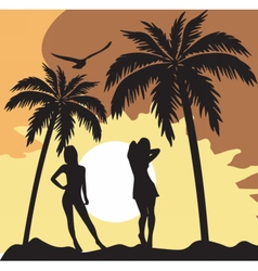 Summer card with women silhouette vector