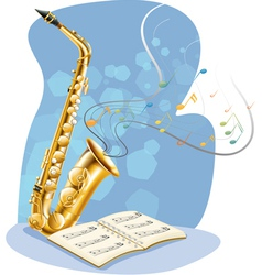 A saxophone with a musical book vector
