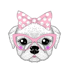 Cute pug portrait with pin up bow tie on head kat vector